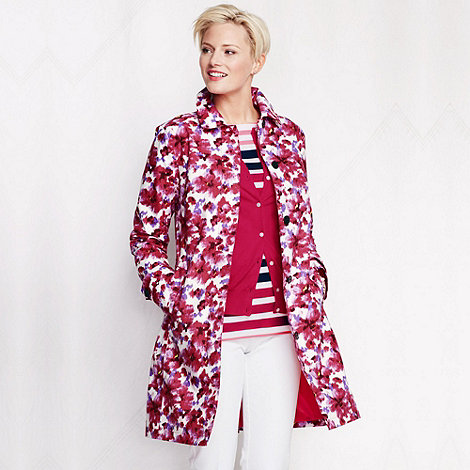 Lands+ End - Pink women+s pattern coastal rain coat