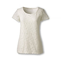 Lands' End - Cream lace front tee