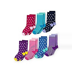Lands' End - Girls' multi days-of-the-week socks