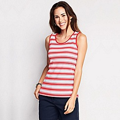 Lands' End - Pink women's regular striped cotton vest top