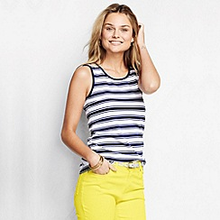 Lands' End - Blue women's regular striped cotton vest top