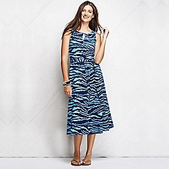 Lands' End - Blue women's regular patterned keyhole dress
