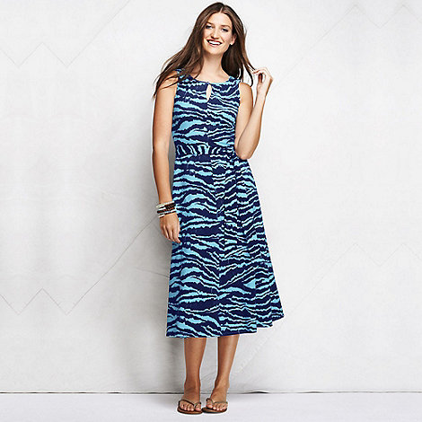Lands+ End - Blue women+s regular patterned keyhole dress