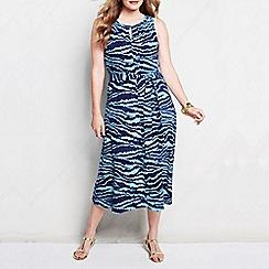 Lands' End - Blue women's plus patterned keyhole dress