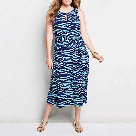 Lands+ End - Blue women+s plus patterned keyhole dress