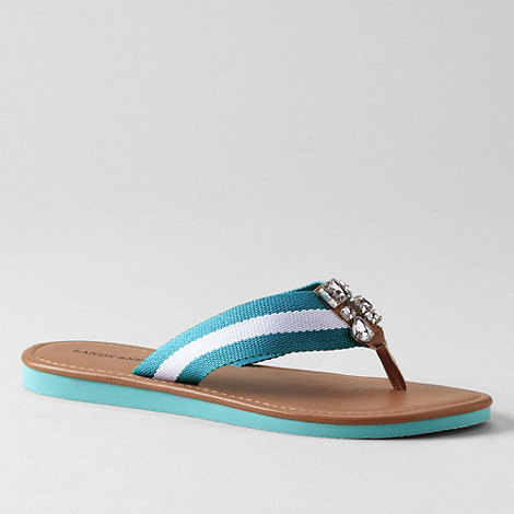 Lands+ End - Blue women+s jewelled flip-flops