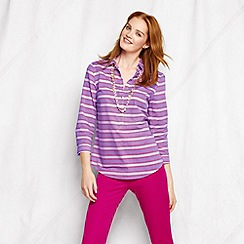 Lands' End - Purple women's tall striped three-quarter sleeve cotton lawn shirt