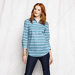Lands' End - Green women's tall striped three-quarter sleeve cotton lawn shirt