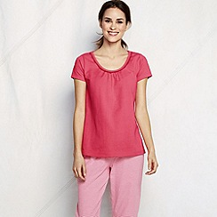 Lands' End - Pink women's jersey lace trim sleep tee