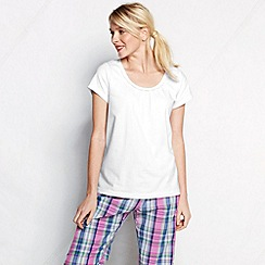 Lands' End - White women's jersey lace trim sleep tee
