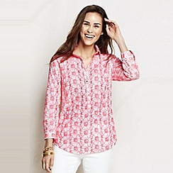 Lands' End - Pink women's regular three-quarter sleeve eyelet poplin tunic