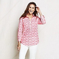 Lands' End - Pink women's petite three-quarter sleeve eyelet poplin tunic