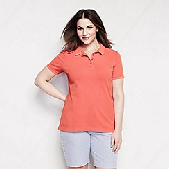 Lands' End - Orange women's plus short sleeve pique; polo
