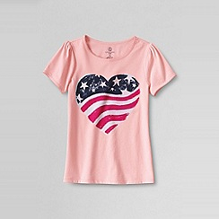 Lands' End - Pink little girls' short sleeve usa graphic tee