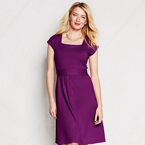 Lands+ End - Purple women+s regular square neck cotton-modal jersey dress