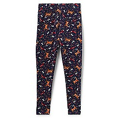 Lands' End - Girls' blue patterned ankle-length jersey leggings