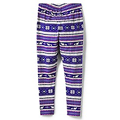 Lands' End - Girls' purple patterned ankle-length jersey leggings