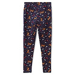 Lands' End - Girls' blue patterned ankle-length leggings