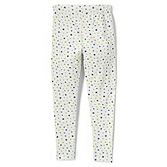 Lands' End - Cream girls' patterned ankle-length leggings