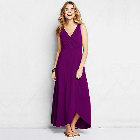 Lands+ End - Purple women+s tall tulip hem maxi dress
