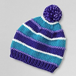 Lands' End - Blue girls' chunky stripe hat