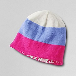 Lands' End - Pink girls' reversible knit beanie hat