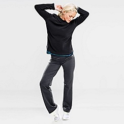 Lands' End - Black women's polartec aircore 100 fleece boatneck pullover