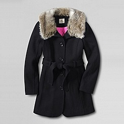 Lands' End - Black girls' fashion wool blend coat
