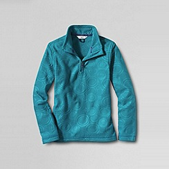 Lands' End - Blue girls' embossed fleece half zip pullover