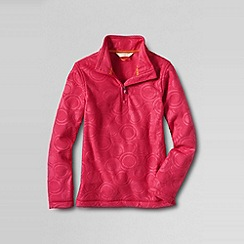 Lands' End - Pink girls' embossed fleece half zip pullover