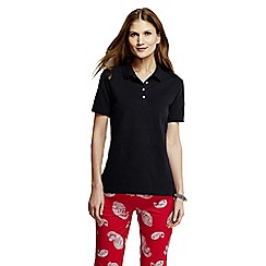 Lands' End - Black women's petite pique slim fit polo