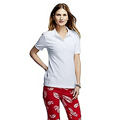 Lands' End - White women's petite pique slim fit polo