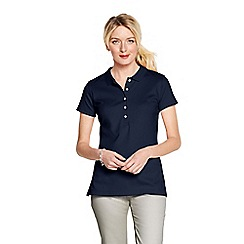 Lands' End - Blue slim fit pima polo petite