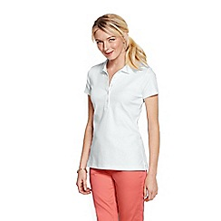 Lands' End - White women's slim fit pima polo petite