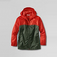 Lands' End - Orange boys' colourblock packable navigator rain jacket