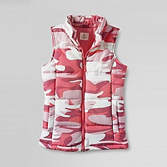 Lands' End - Cream girls' patterned insulated gilet