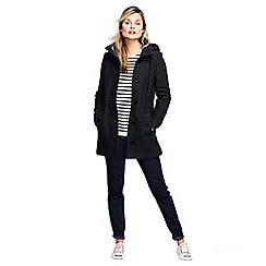 Lands' End - Black women's boiled wool hooded parka