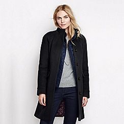 Lands' End - Black women's luxe wool walker coat
