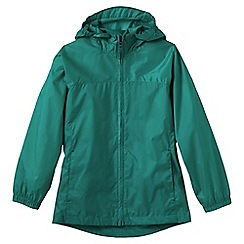 Lands' End - Blue girls' plain packable navigator rain jacket