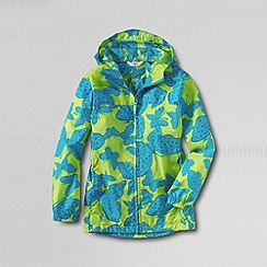 Lands' End - Green girls' pattern packable navigator rain jacket