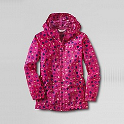 Lands' End - Pink girls' pattern packable navigator rain jacket