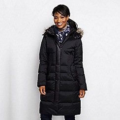 Lands' End - Black women's mid-weight cross-dye down coat