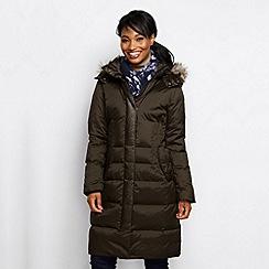 Lands' End - Brown women's mid-weight cross-dye down coat