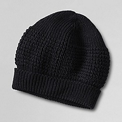 Lands' End - Black men's cashtouch beanie hat