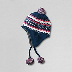 Lands' End - Blue women's pop colour fair isle peruvian hat