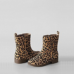 Lands' End - Beige girls' marley leopard boots
