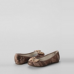 Lands' End - Brown girls' claire bow ballet shoes