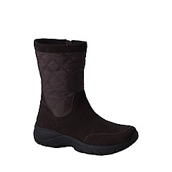 Lands' End - Brown women's quilted side-zip boots