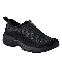 Lands' End - Black women's wide zip-front shoes