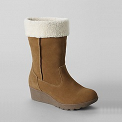 Lands' End - Beige women's regular short chalet suede boots